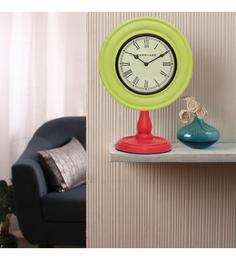 Light Green & Red MDF 10 X 6 X 14 Inch Classy Desk Clock
