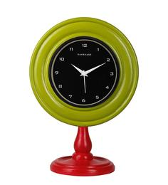Light Green & Red MDF 10 X 6 X 14 Inch Contemporary Desk Clock