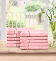 Light Pink Essential Plus 10 Piece 480 GSM Cotton Face Towel Setby Swiss Republic