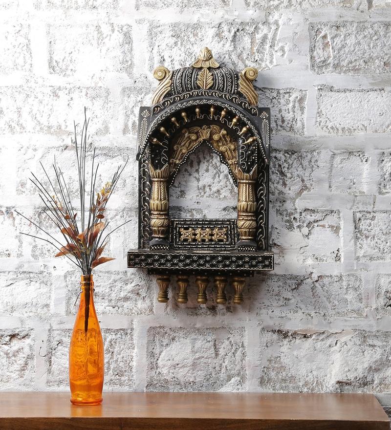 Black & Gold Mango Wood Jodhpuri Handpainted Jharokha by LifeEstyle