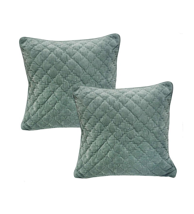 Light Blue Velvet 20 x 20 Inch Cushion Covers - Set of 2 by R Home