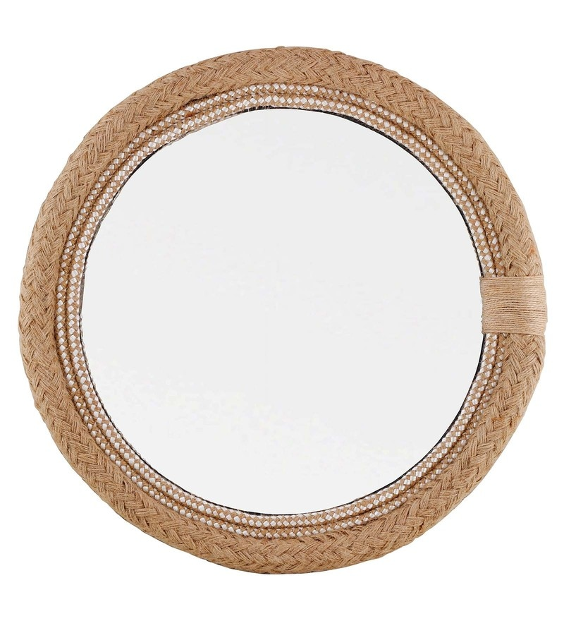 Light Brown Plywood 15 x X 15 Inch Twisted Rope Round Mirror by Desi Jugaad