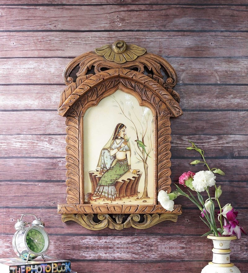 Brown Wooden Beautiful Lady Feeding Parrot Jharokha Gift by Little India