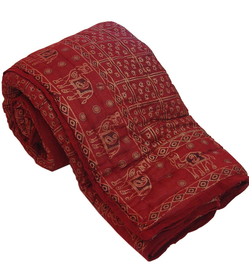 Reds Indian Ethnic Cotton Queen Size Quilt 1 Pc by Little India
