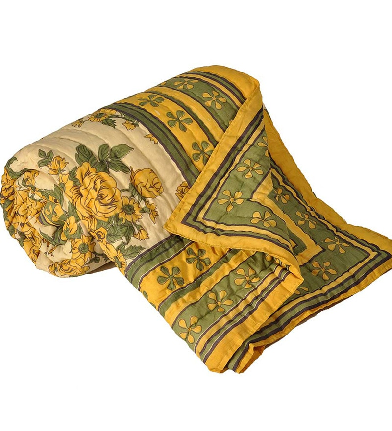 Yellow & Green Nature & Florals Cotton Queen Size Quilt 1 Pc by Little India