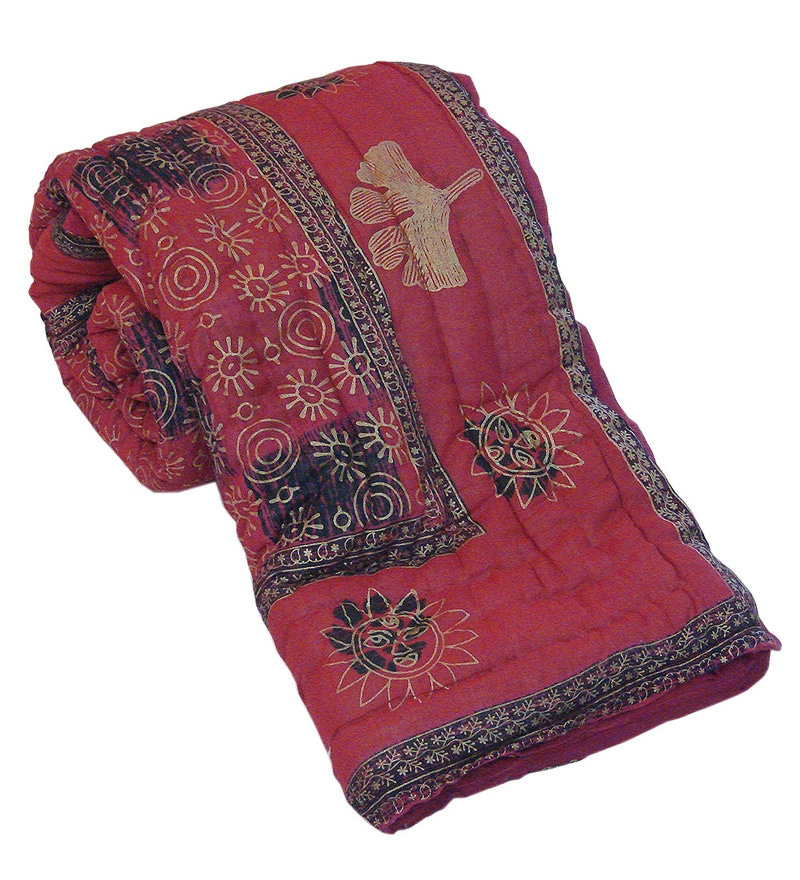 Pinks Indian Ethnic Cotton Queen Size Quilt 1 Pc by Little India