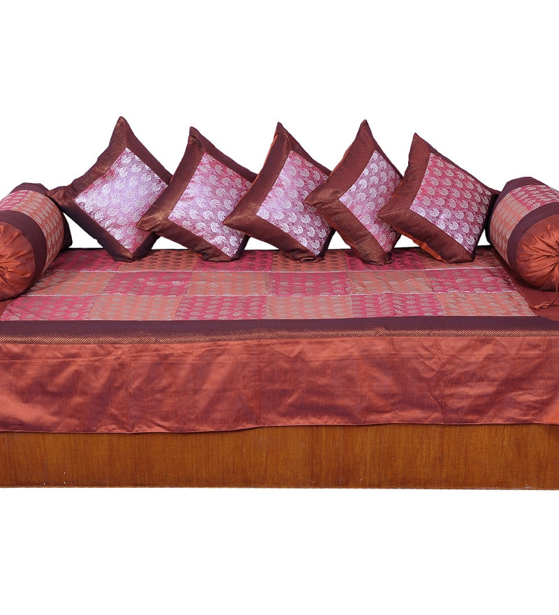 Red Poly Silk Diwan Set - Set of 8 by Little India