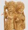 Little India Brown Wooden Ethnic Lord Radha Krishan Idol Handicraft