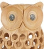 Brown Wooden Good Luck Sign Owl Sitting Tree Branch Showpiece by Little India