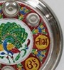 Silver Steel Handcrafted Minakari Shubh Laabh Mayur Pooja Thali by Little India
