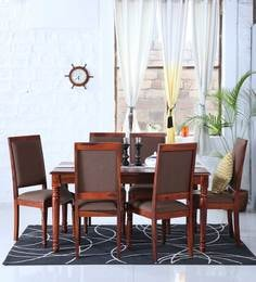 Louis Six Seater Dining Set In Honey Oak Finish