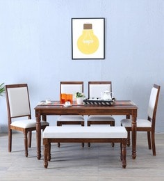 Louis Six Seater Dining Set With Bench In Provincial Teak Finish