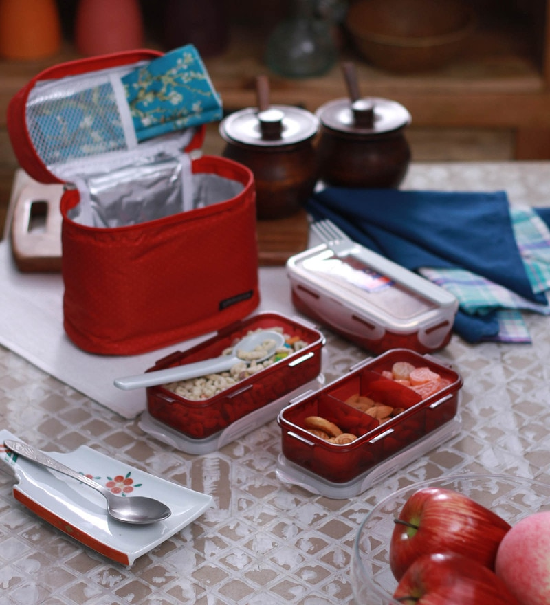 Lock&Lock Lunch Box Set with Red Bag, Spoon and Fork