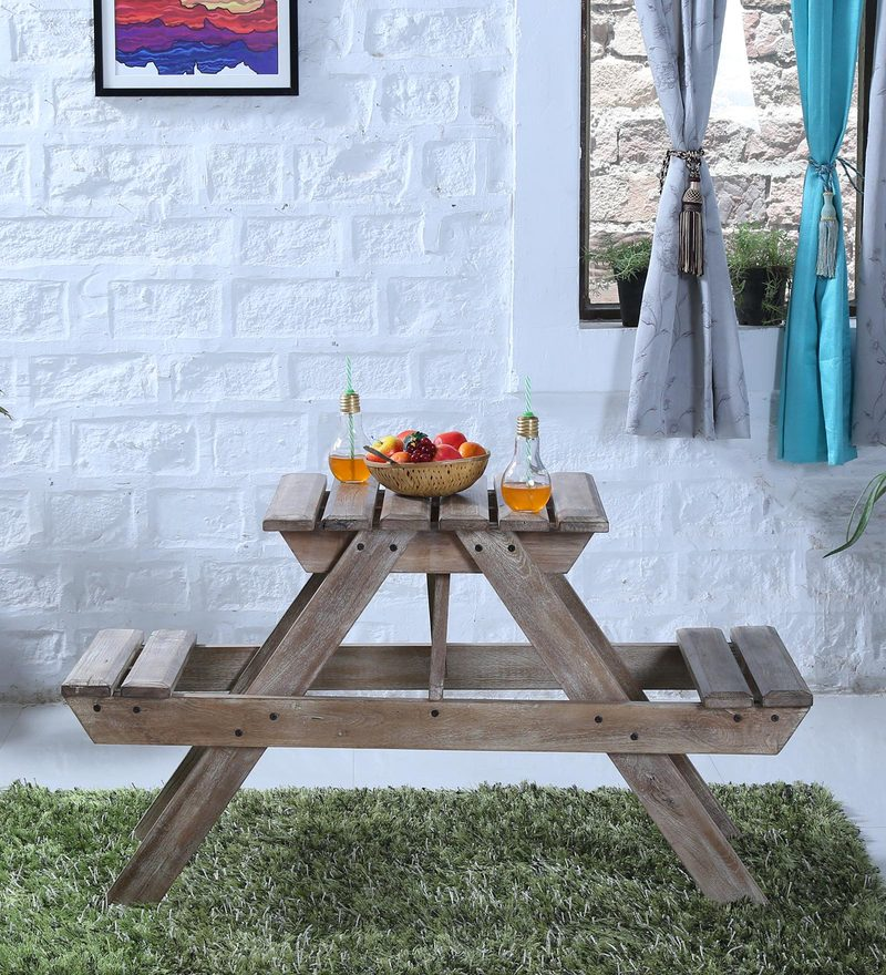 Lomira Two Seater Picnic Table in Distress Finish by Bohemiana