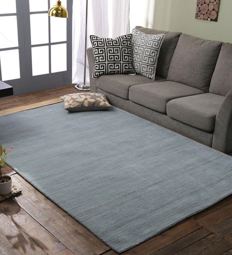 Blue 100% Wool Area Rug by Loom Works