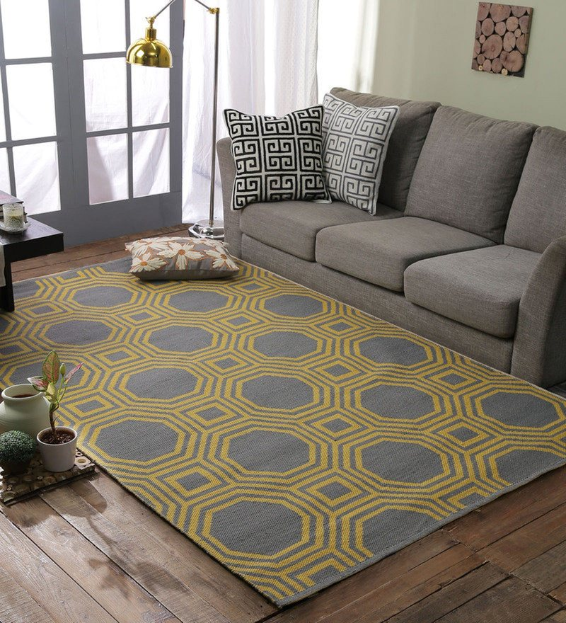 Grey & Yellow 100% Polyester Dhurrie by Loom Works