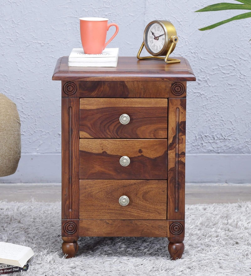 Louis Bed Side Table in Provincial Teak Finish by Amberville