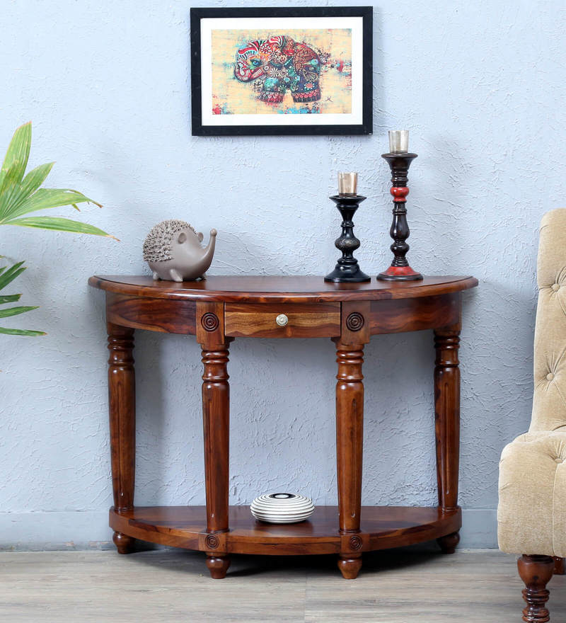 Louis Console Table in Provincial Teak Finish by Amberville