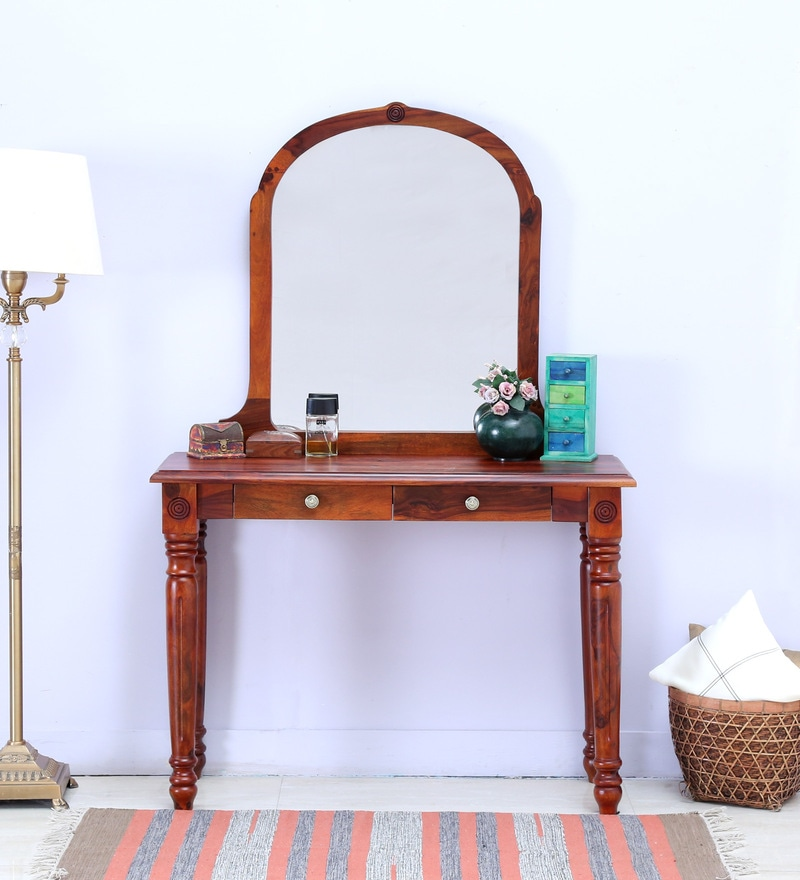 Louis Dressing Table in Honey Oak Finish by Amberville