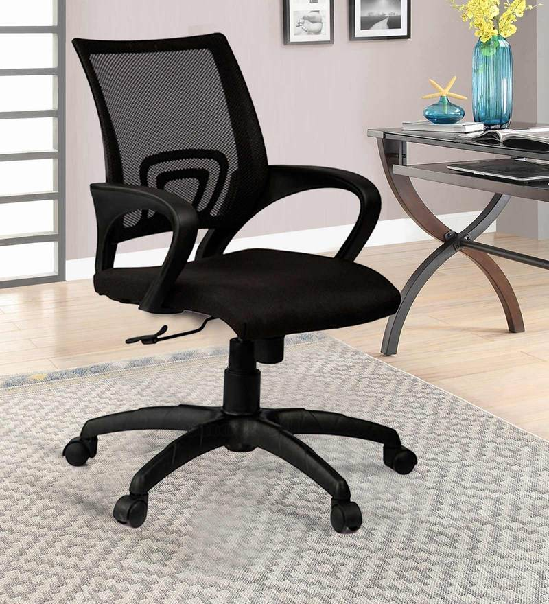 Low Back Mesh Black Ergonomic Chair by Adiko Systems