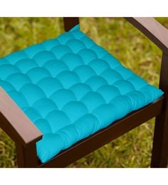 Lushomes Blue Cotton 16 X 16 Inch Chair Cushion With 36 Knots & 4 Tie Backs