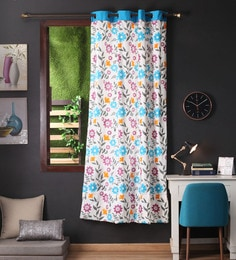 Lushomes Blue Cotton 90 X 54 Inch Flower Printed Door Curtain With 8 Eyelets & Plain Tiebacks  -1 Piece