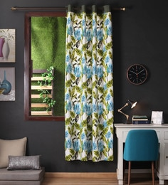 Lushomes Green Cotton 108 X 54 Inch Forest Printed Long Door Curtain With 8 Eyelets & Plain Tiebacks  -1 Piece