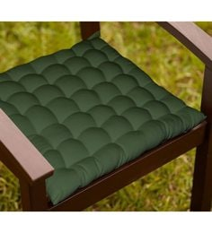Lushomes Green Cotton 16 X 16 Inch Chair Cushion With 36 Knots & 4 Tie Backs
