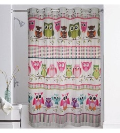Lushomes Multicolour Polyester 79 X 82 Inch Digitally Printed Owl Shower Curtain