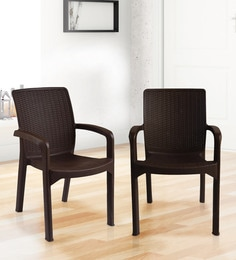 Luxury Plastic Chair (Set Of 2) In Brown Colour