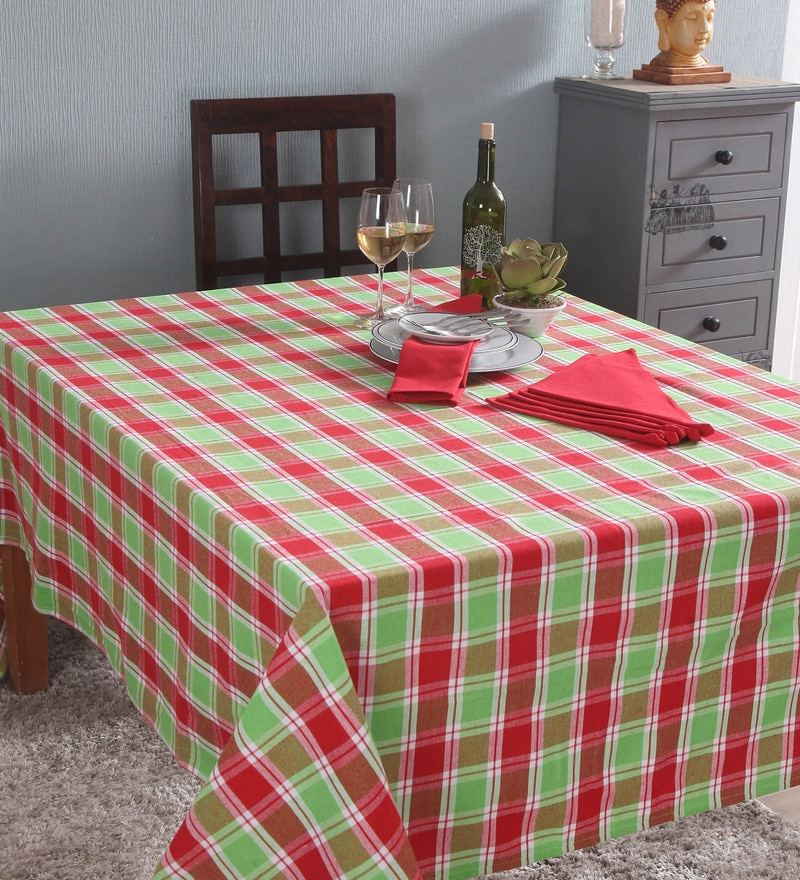 Lushomes 6 Seater Yarn Dyed Multicolour Cotton Table Cloth with Napkins - Set of 7