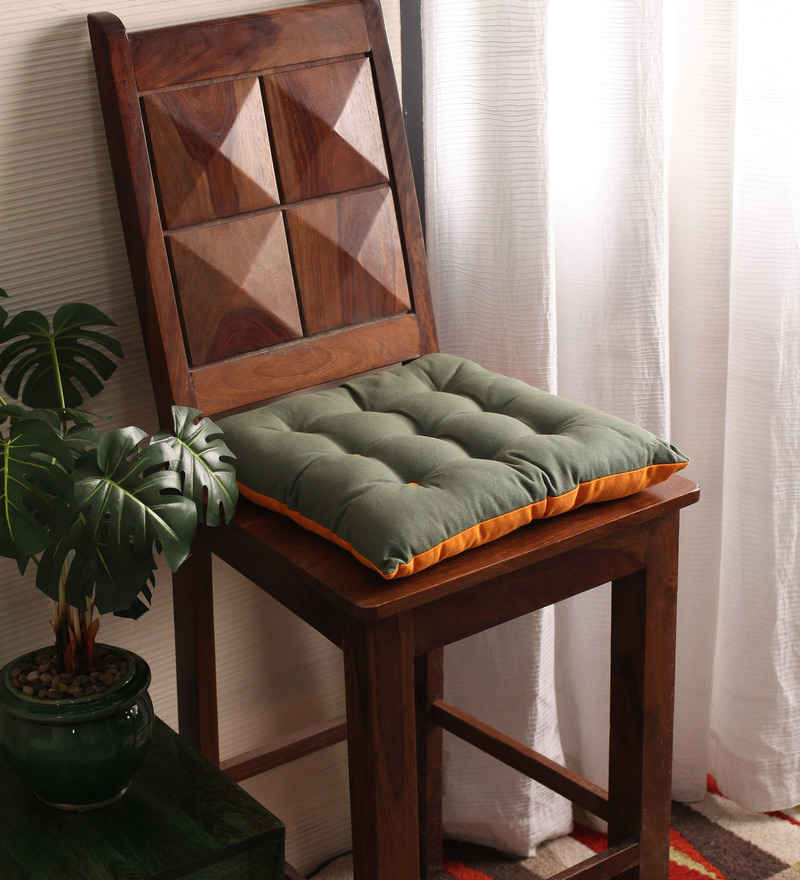 Green & Orange Cotton & Polyester 16 x 16 Inch Half Panama Chair Pad by Lushomes