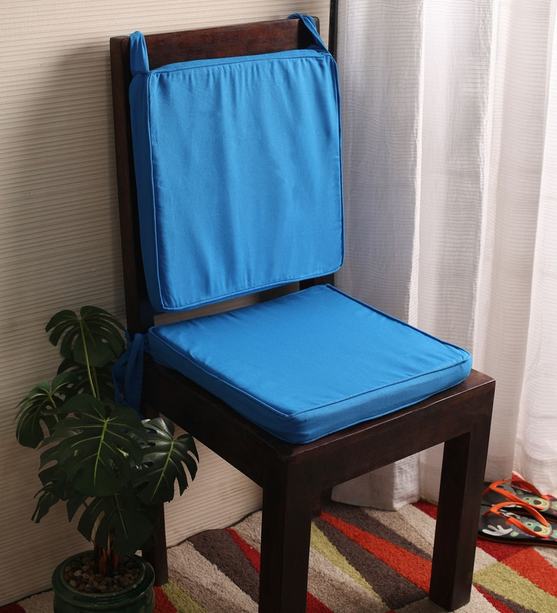 Lushomes Blue Cotton & Foam 16 x 16 Inch Half Panama 4 Strings Chair Pads - Set of 2