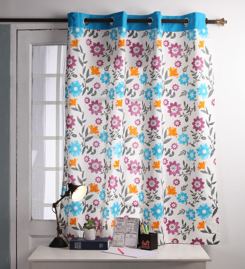 Lushomes Blue Cotton 60 x 54 Inch Flower Printed Windows Curtain with 8 Eyelets & Plain Tiebacks  -1 Piece