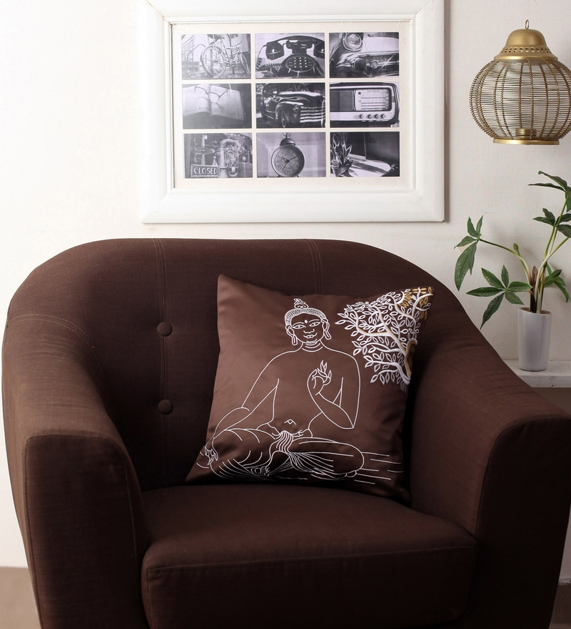 Brown Polyester 16 x 16 Inch Embroidered Buddha Blackout Cushion Cover by Lushomes