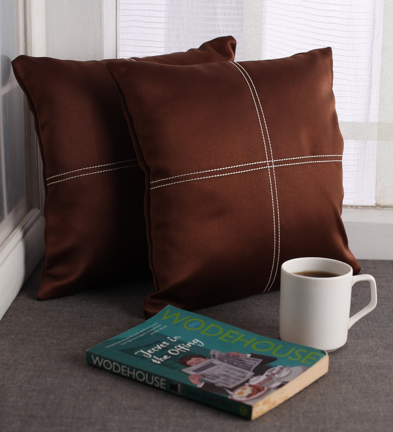Lushomes Dark Brown Blackout Polyester 12 x 12 Inch Cushion Cover with Artistic Stitch - Set of 2