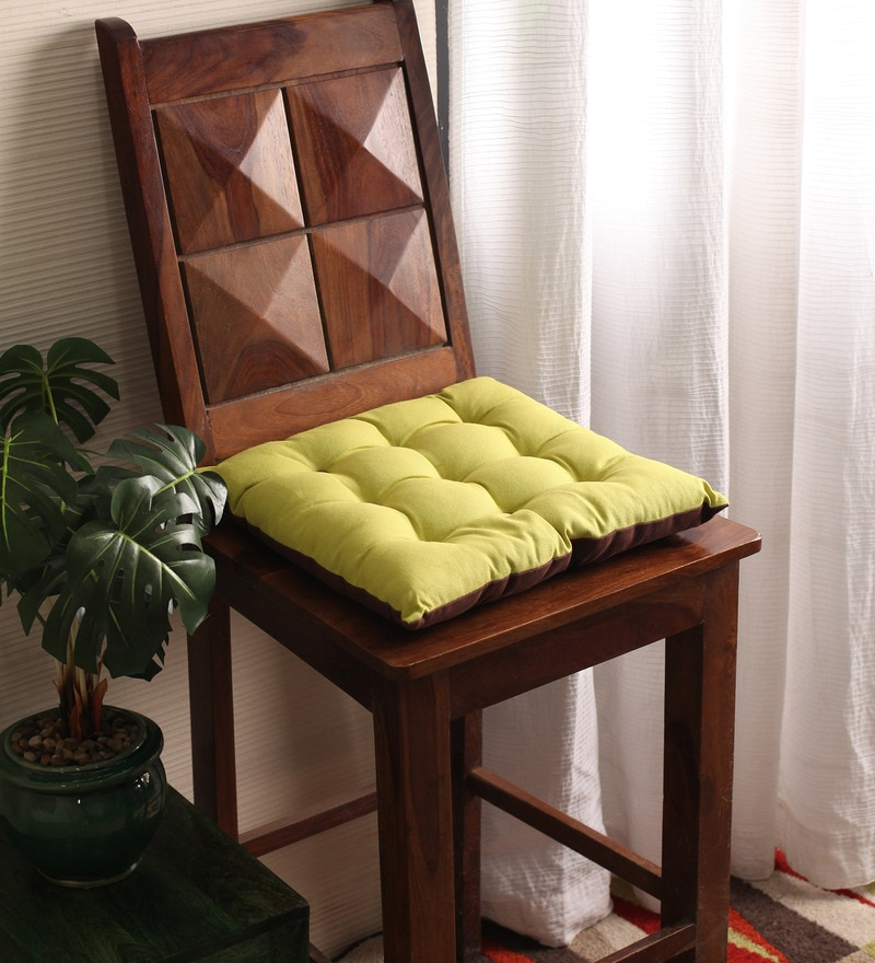 French Roast & Palm Cotton & Polyester 16 x 16 Inch Half Panama Chair Pad by Lushomes