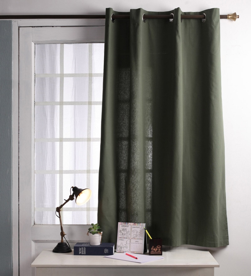 Green Cotton 60 x 54 Inch Plain Windows Curtain with 8 Eyelets & Plain Tiebacks - Set of 2 by Lushomes