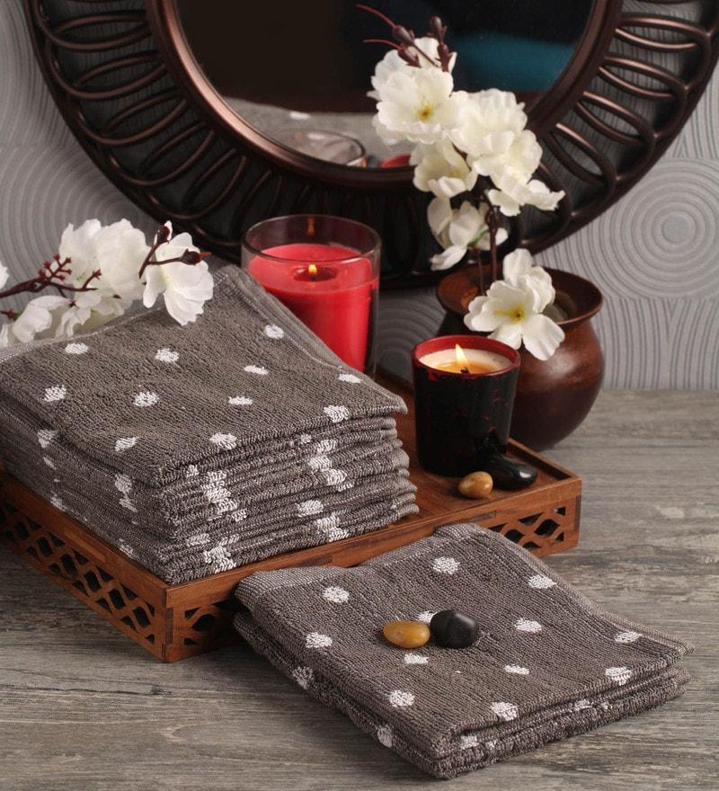 Lushomes Grey Cotton 12 x 12 Face Towel - Set of 8