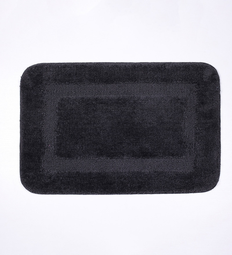 Lushomes Grey Polyester Bath and Contour Mat - Set of 2