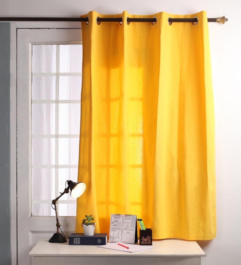 Lemon Chrome Cotton 60 x 54 Inch Plain Windows Curtain with 8 Eyelets & Plain Tiebacks - Set of 2 by Lushomes