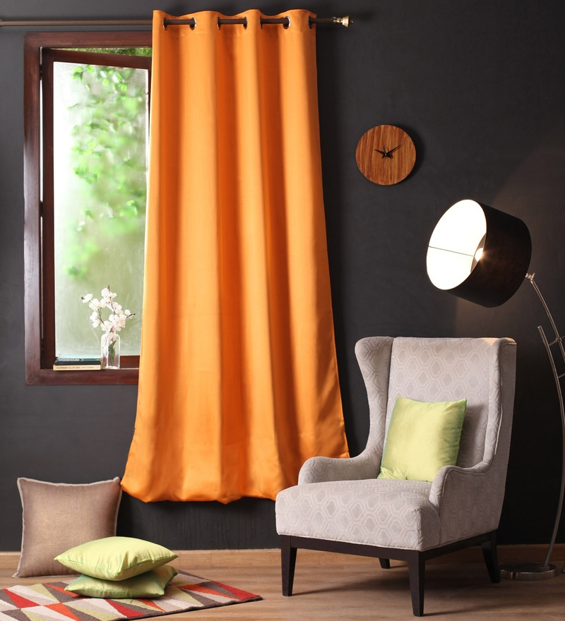 Lushomes Mango Polyester 90 x 54 Inch Plain Blackout Door Curtain with 8 Metal Eyelets  -1 Piece