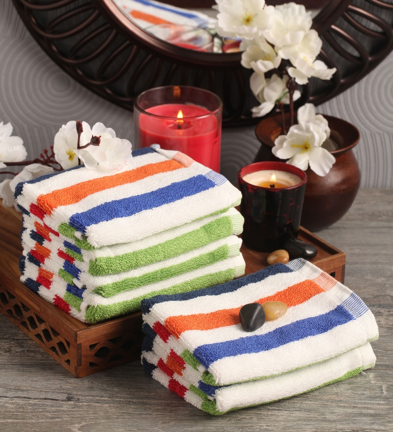 Lushomes Multicolour Cotton 12 x 12 Face Towel - Set of 6