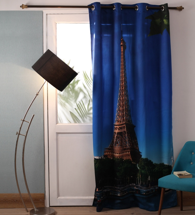 Lushomes Multicolour Polyester 54 x 90 Inch Digitally Printed Eiffel Tower Blackout Door Curtains  -1 Piece