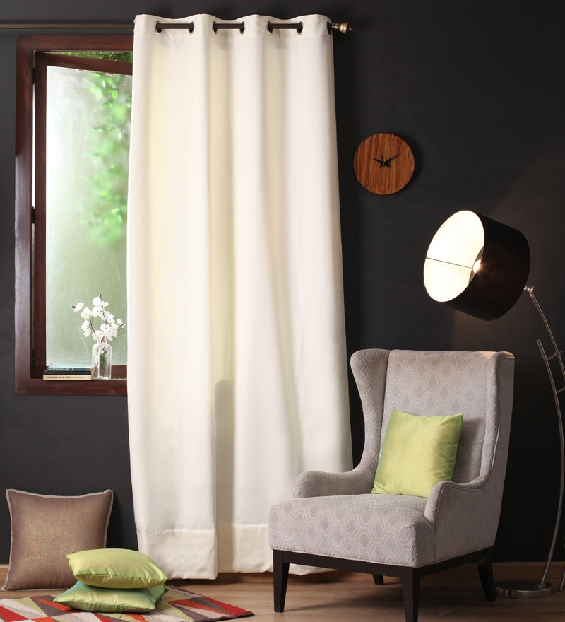 Lushomes Off White Polyester 108 x 54 Inch Plain Blackout Long Door Curtain with 8 Metal Eyelets  -1 Piece