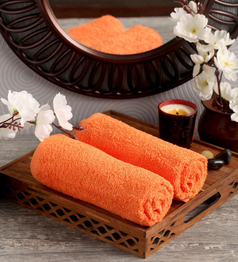 Orange Cotton 16 x 26 Hand Towel - Set of 2 by Lushomes