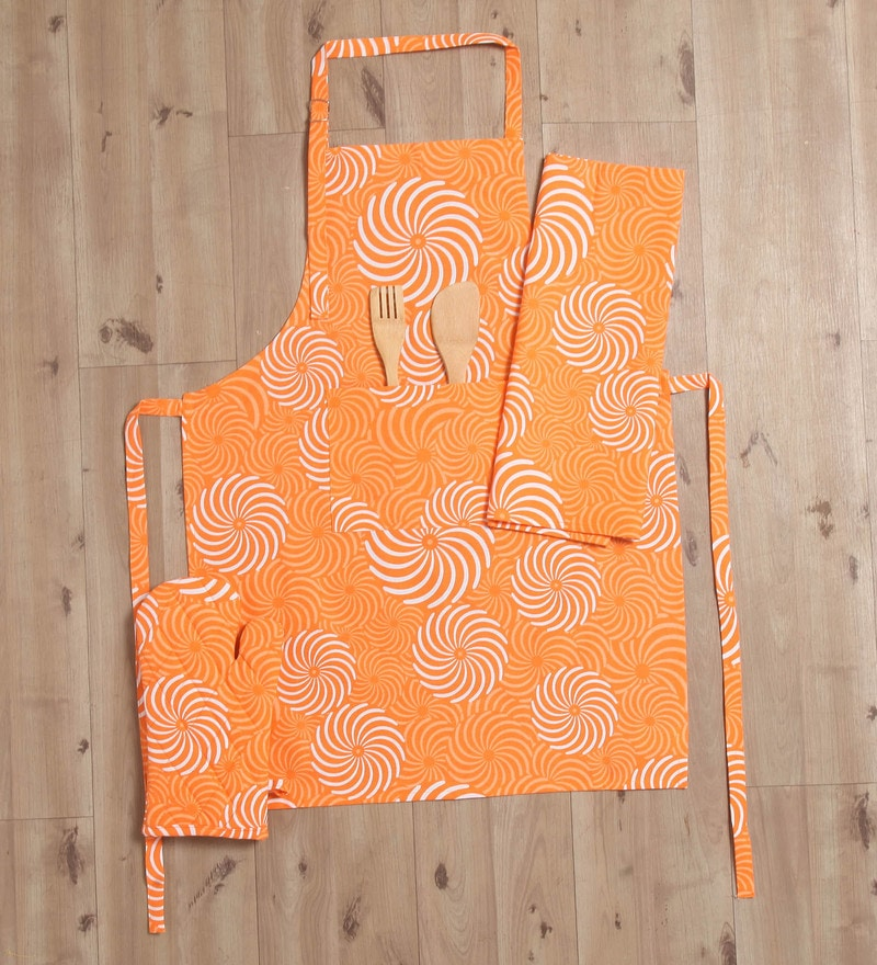 Lushomes Orange Cotton Printed Apron with Kitchen Towel & Oven Mitten