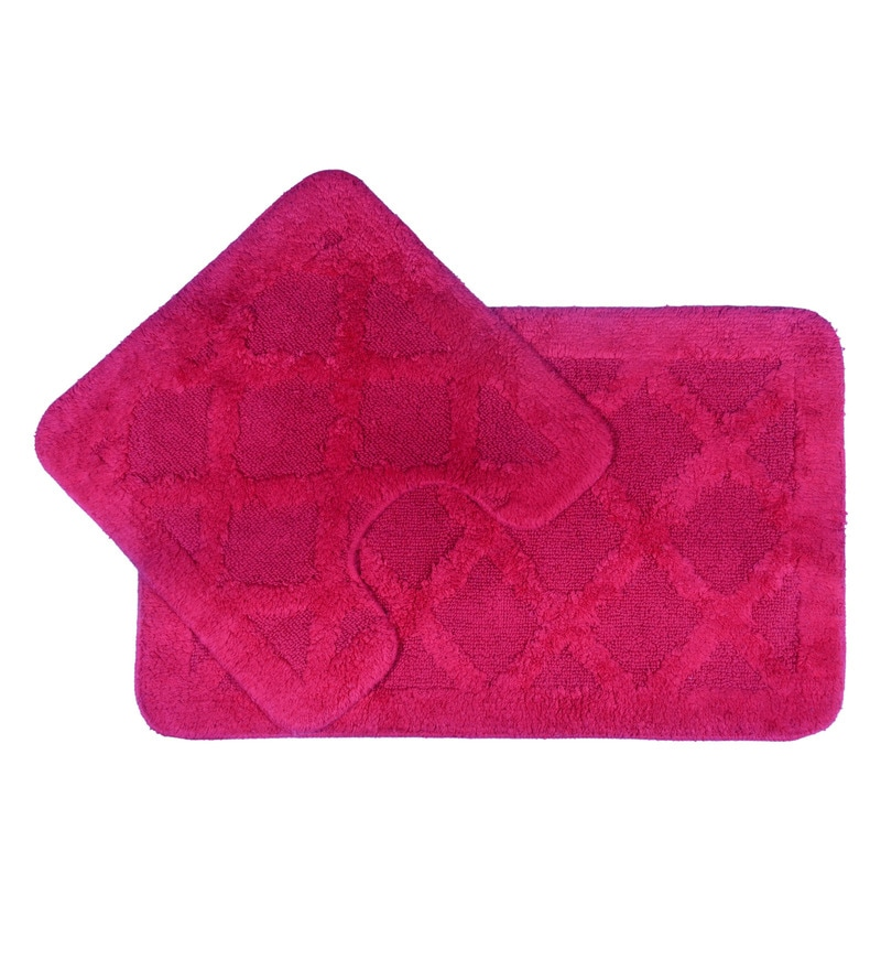 Pink Cotton Bath and Toilet Mat - Set of 2 by Lushomes