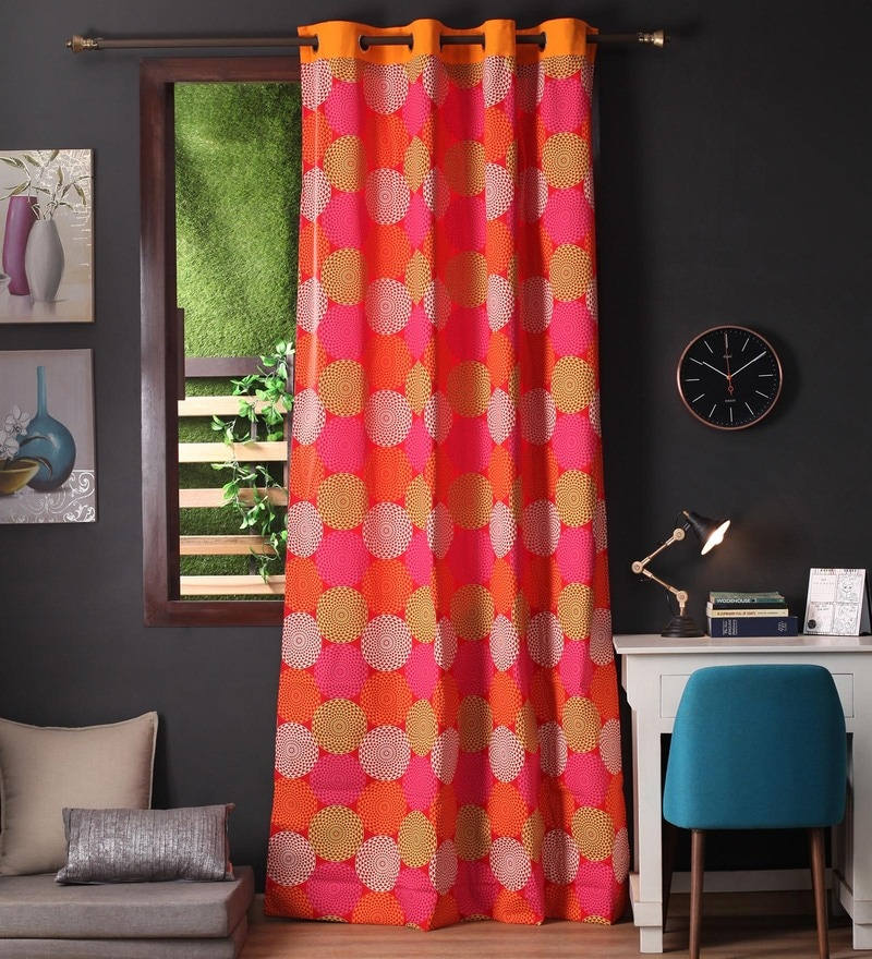 Red Cotton 108 x 54 Inch Spiral Printed Long Door Curtain with 8 Eyelets & Plain Tiebacks -1 Piece by Lushomes