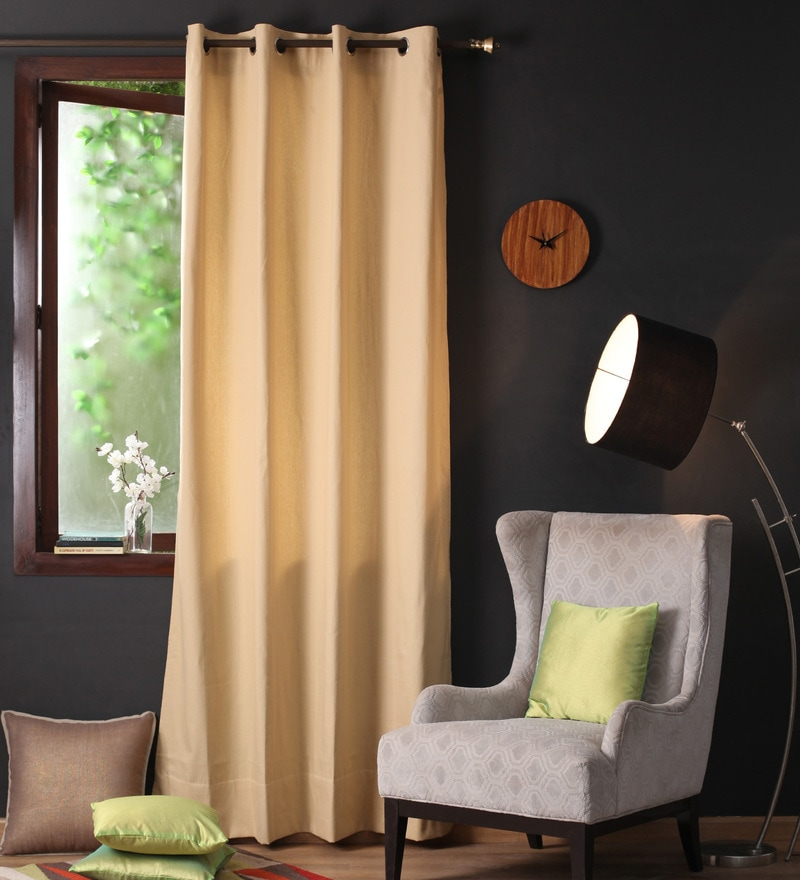 Sand Cotton 108 x 54 Inch Plain Long Door Curtain with 8 Eyelets & Plain Tiebacks - Set of 2 by Lushomes